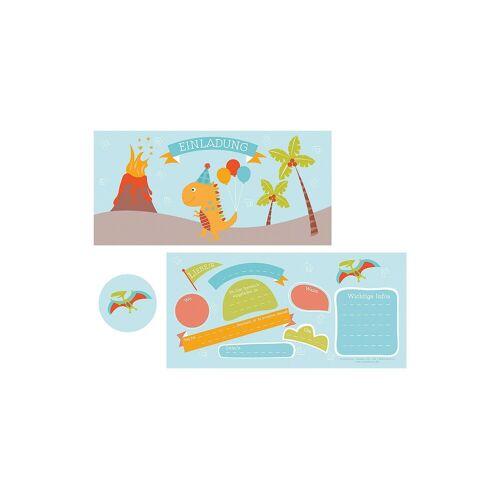 """10 Einladungskarten """"Dino"""" + 11 Sticker"""