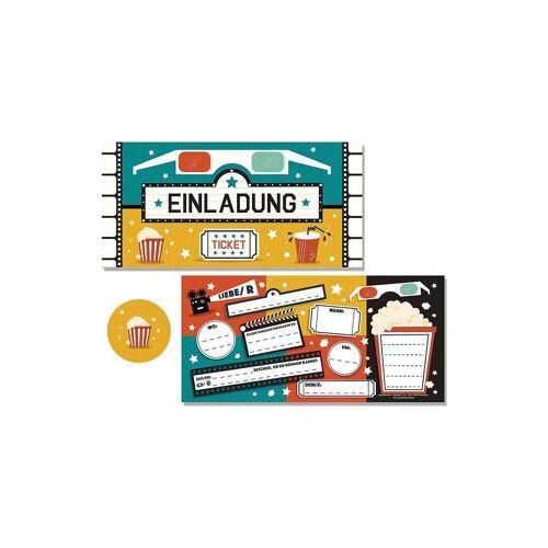 """10 Einladungskarten """"Kino"""" + 11 Sticker"""