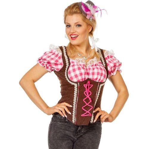 Wilbers Kostüm »Carmenbluse Trachtenbluse pink-braun«