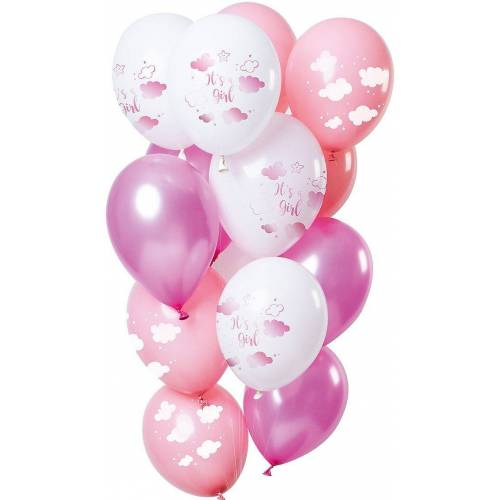 Folat Luftballon »Luftballons Baby Cloud Blue 30 cm, 12 Stück«, rosa/pink