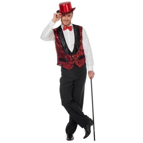 Wilbers Kostüm »Glitzer Weste für Herren Rot«