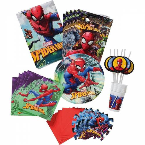 Procos Kindergeschirr-Set »Partyset Spiderman Team Up, 56-tlg.«
