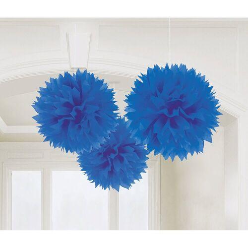 Amscan Pompon »18055-90-55 Pompoms/Dekobälle bunt, 3 Stück«, blau