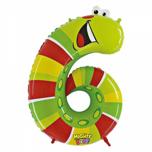 Karaloon Folienballon »Ballon Zahl 9 Gecko«, rot/grün