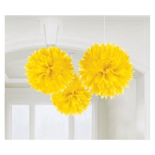 Amscan Pompon »18055-90-55 Pompoms/Dekobälle bunt, 3 Stück«, gelb