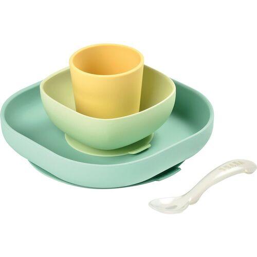 BÉABA Kindergeschirr-Set »Geschirrset aus Silikon, 4-tlg., gelb«, gelb