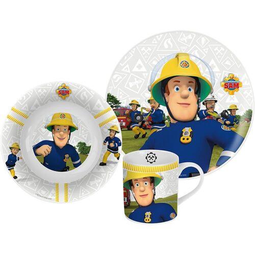 p:os Kindergeschirr-Set »Kindergeschirr Keramik Minnie Mouse, 3-tlg.«, blau/weiß