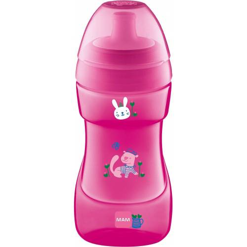 MAM Trinkflasche »Trinkflasche Sports Cup, PP, 330 ml, grün/gelb«, pink