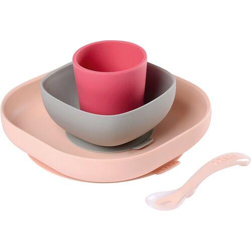 BÉABA Kindergeschirr-Set »Geschirrset aus Silikon, 4-tlg., gelb«, rosa
