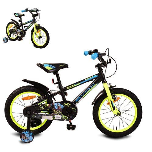 Byox Kinderfahrrad »Kinderfahrrad Monster 16 Zoll«, 1 Gang 1 Gang, keine, schwarz, Stützräder, Metall-Rahmen, Klingel