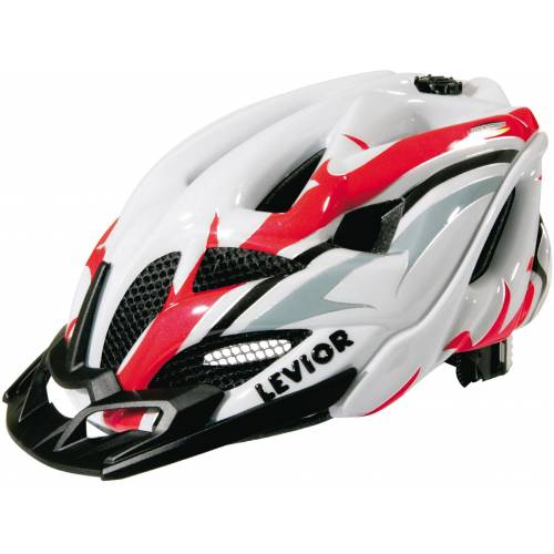Levior Fahrradhelm »Opus Visor«, white red   rot-weiß