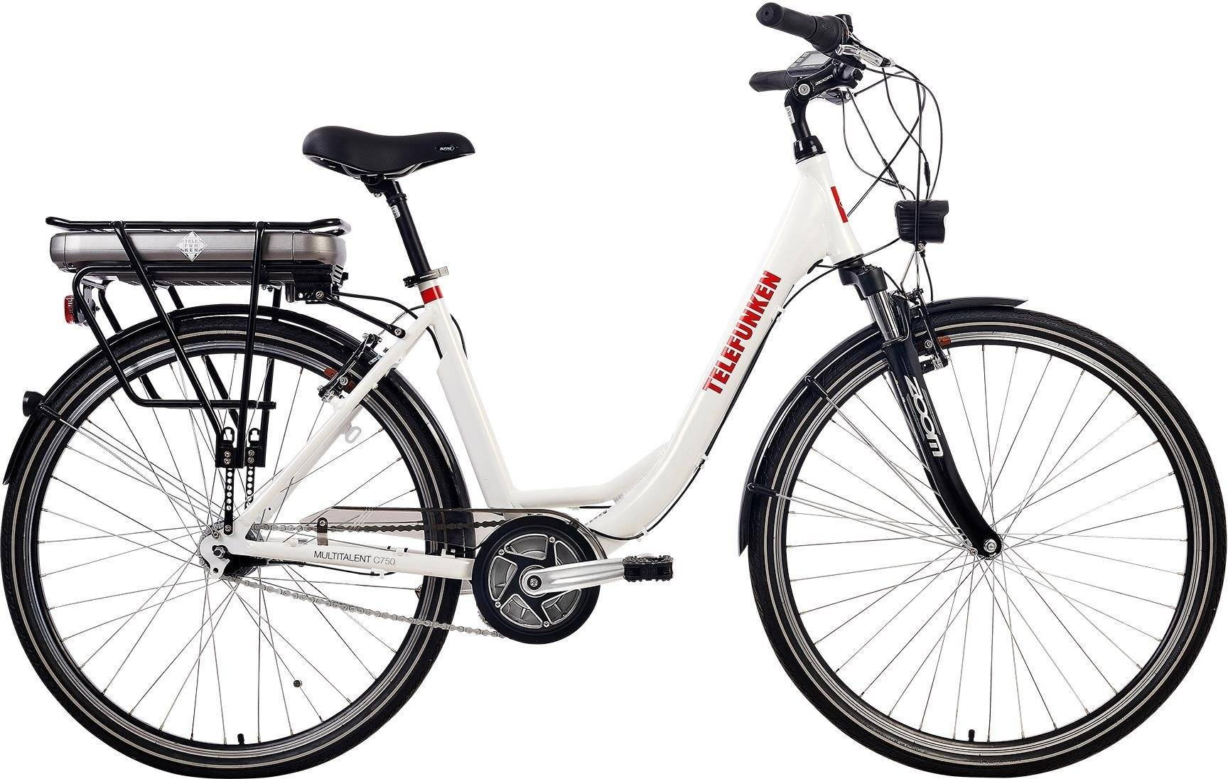 Telefunken E-Bike »Multitalent C750«, Nabenschaltung, weiß