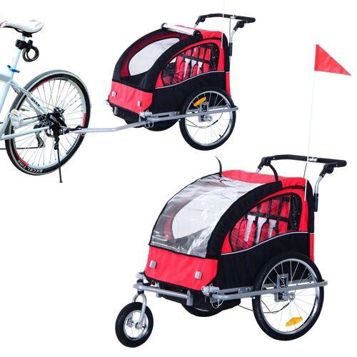 HOMCOM Fahrradkinderanhänger »Kinderanhänger 2 in 1 – Fahrradanhänger und Jogger«, rot-schwarz