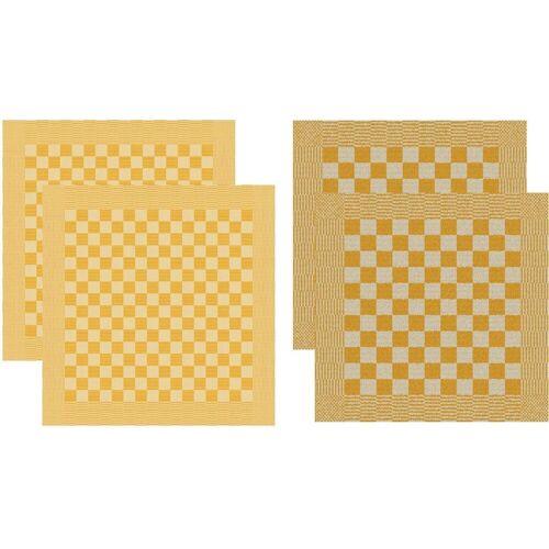 DDDDD Geschirrtuch »Barbeque«, (Set, 4-tlg), Combiset: 2 Küchentücher & 2 Geschirrtücher, gelb