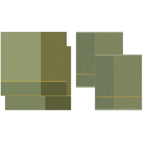 DDDDD Geschirrtuch »Blend«, (Set, 4-tlg), Combiset_ 2 Küchentücher & 2 Geschirrtücher, grün