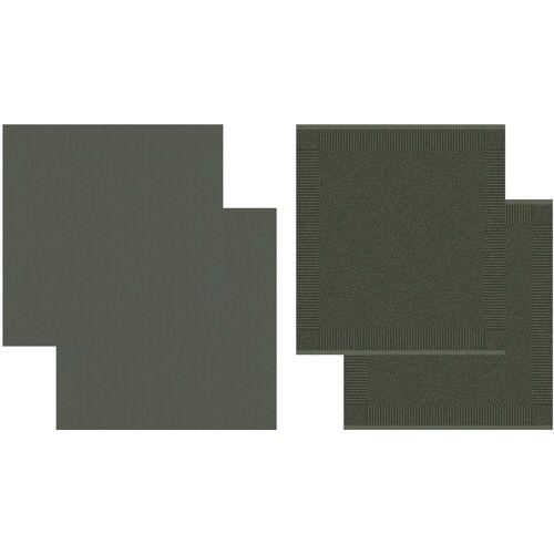 DDDDD Geschirrtuch »Cisis«, (Set, 4-tlg), Combiset: 2 Küchentücher & 2 Geschirrtücher, dunkelgrün