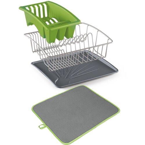 Metaltex Geschirrständer »Aquanet«, inklusive Softex-Abtropfmatte, grün-grau