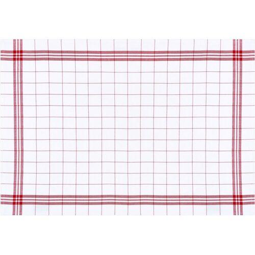 stuco Geschirrtuch »Bambus, kariert«, (Set, 3-tlg), weiß-rot
