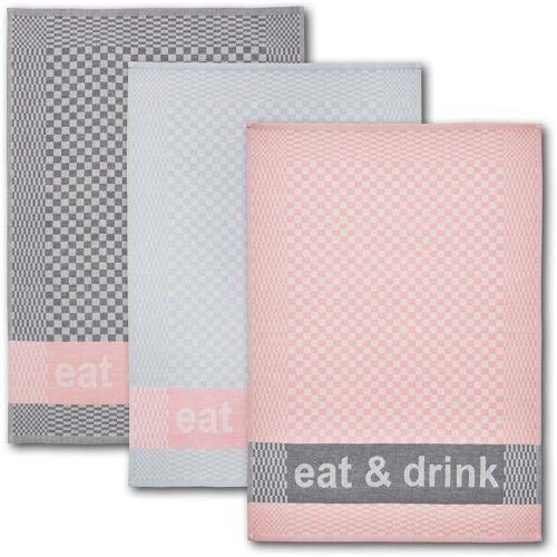 Dyckhoff Geschirrtuch »eat & drink«, (Set, 6-tlg), mit drei verschiedenen Motiven