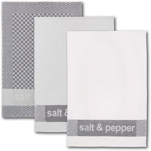 Dyckhoff Geschirrtuch »salt & pepper«, (Set, 6-tlg), mit drei verschiedenen Motiven