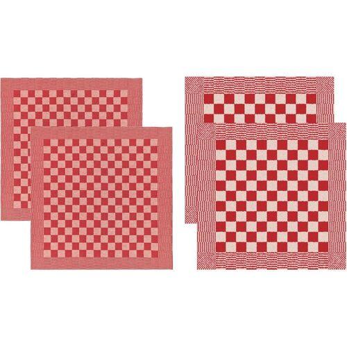 DDDDD Geschirrtuch »Barbeque«, (Set, 4-tlg), Combiset: 2 Küchentücher & 2 Geschirrtücher, rot