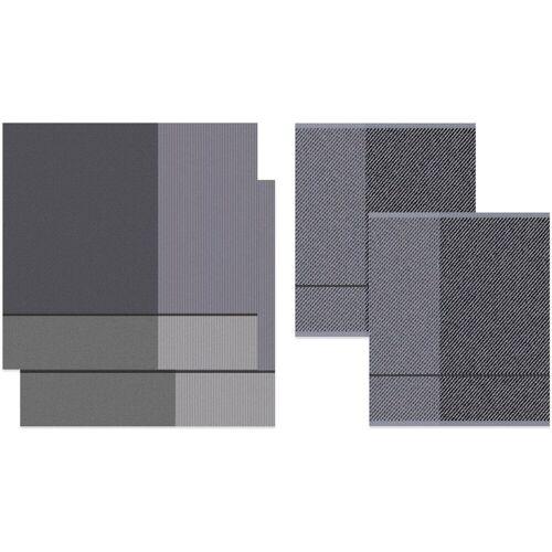 DDDDD Geschirrtuch »Blend«, (Set, 4-tlg), Combiset_ 2 Küchentücher & 2 Geschirrtücher, grau