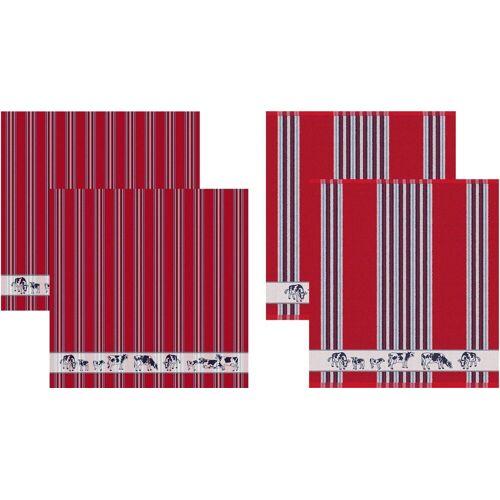 DDDDD Geschirrtuch »Friesian«, (Set, 4-tlg), Combiset: 2 Küchentücher & 2 Geschirrtücher, rot