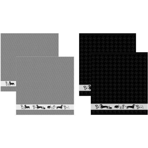 DDDDD Geschirrtuch »Saar«, (Set, 4-tlg), Combiset: 2 Küchentücher & 2 Geschirrtücher