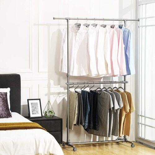 SONGMICS Kleiderständer »LLR401«, Garderobenständer, zusätzliche Stange, grau