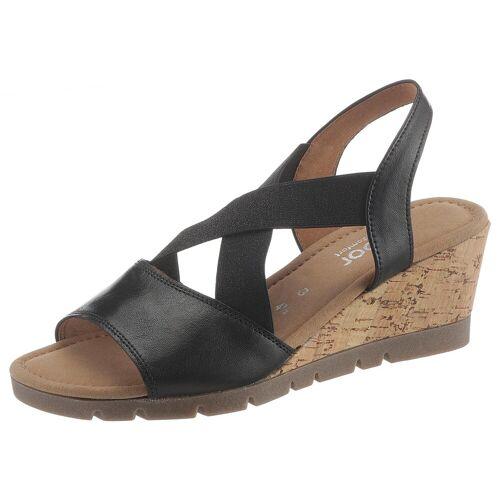 Gabor Sandalette mit glänzenden Stretchbändern, schwarz