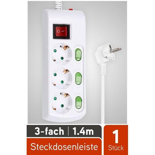HEITECH »3 fach Steckdosenleiste mit Überlastungsschutz - Mehrfachsteckdose mit Einzelschaltung, Kindersicherung, 1,4 Meter Kabel, 3680W - Mehrfachstecker mit Schalter« Steckdosenleiste