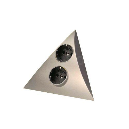 Thebo »Dreieck Steckdose 2fach edelstahlfarbig« Steckdosenleiste 2-fach (2 VDE Steckdosen, Kabellänge 3 m), Schwarz