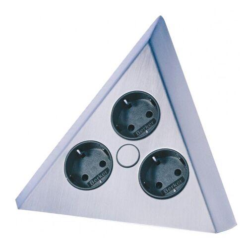 Thebo Steckdosenleiste 3-fach (3 VDE Steckdosen, Kabellänge 3 m), Edelstahl