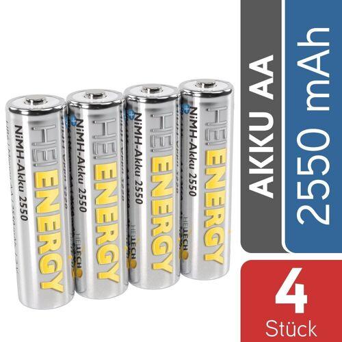 HEITECH »AA Akku Mignon 2550 mAh 1,2V NiMH TÜV geprüft 4 Stück - Wiederaufladbare Batterien mit geringer Selbstentladung - Akkus für Geräte mit hohem Stromverbrauch« Akku