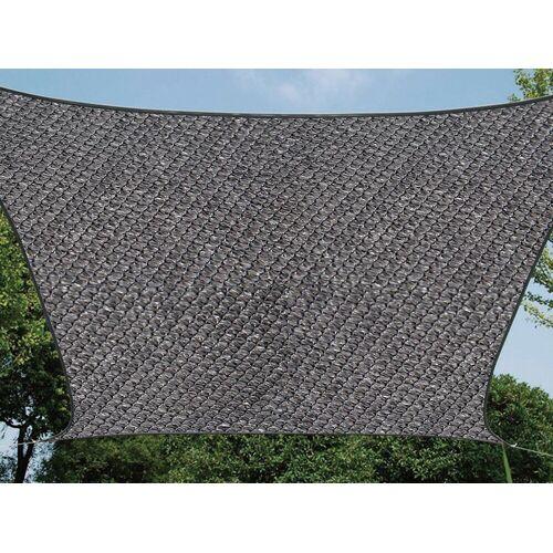 Perel Sonnensegel, quadratisch 3,6 bis 5x5 m wasserdurchlässig für Terrasse Balkon & Garten, Sonnenschutz-Segel, Dunkelgrau