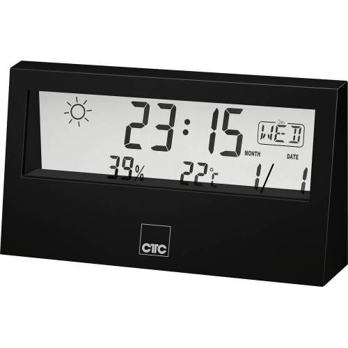 CLATRONIC »CTC WSU 7022 Wetterstation mit Uhr schwarz« Funkwetterstation
