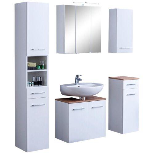 HELD MÖBEL Badmöbel-Set »Avignon«, (5-tlg), mit 3D-Spiegelschrank mit LED-Aufsatzleuchte, weiß