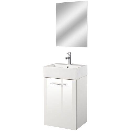 Oristo Badmöbel-Set »Epsilon«, (3-St), Badmöbel-Set mit Spiegel, Waschbecken und Waschbeckenunterschrank