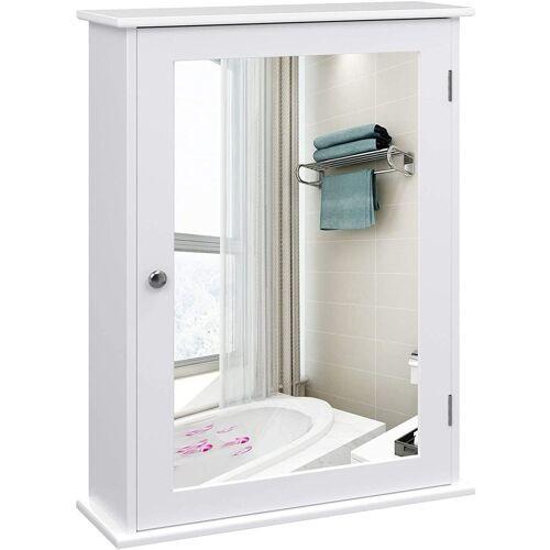 VASAGLE Badezimmerspiegelschrank »LHC001« Spiegelschrank fürs Bad, Badschrank, weiß