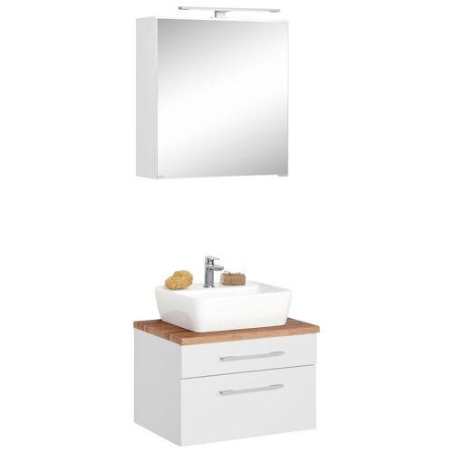 HELD MÖBEL Waschtisch-Set »Davos«, (Set, 2-tlg), mit Spiegelschrank, weiß