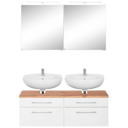 HELD MÖBEL Badmöbel-Set »Davos«, (2-tlg), 2 Spiegelschrank und Waschbeckenunterschrank, weiß