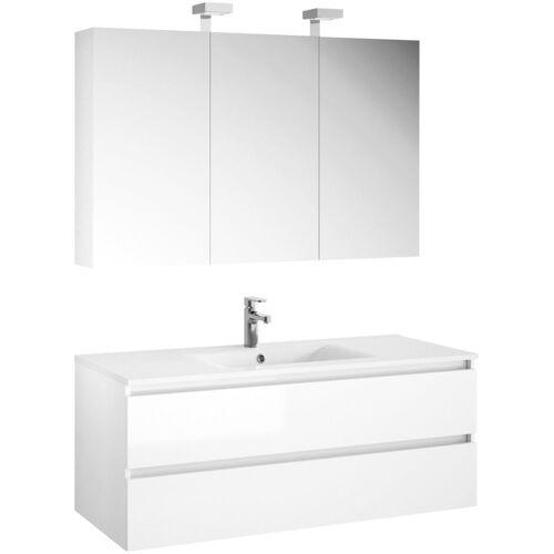 Allibert Badmöbel-Set »Alma«, (3-tlg), bestehend aus Spiegelschrank und Waschtisch, weiß