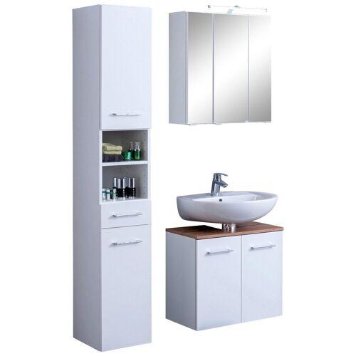 HELD MÖBEL Badmöbel-Set »Avignon«, (3-tlg), mit 3D-Spiegelschrank mit LED-Aufsatzleuchte, weiß