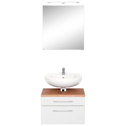 HELD MÖBEL Badmöbel-Set »Davos«, (2-tlg), Spiegelschrank und Waschbeckenunterschrank, weiß