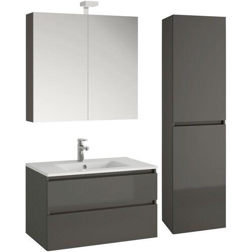 Allibert Badmöbel-Set »Alma«, (4-tlg), bestehend aus Waschplatz, Spiegelschrank und Hochschrank, grau