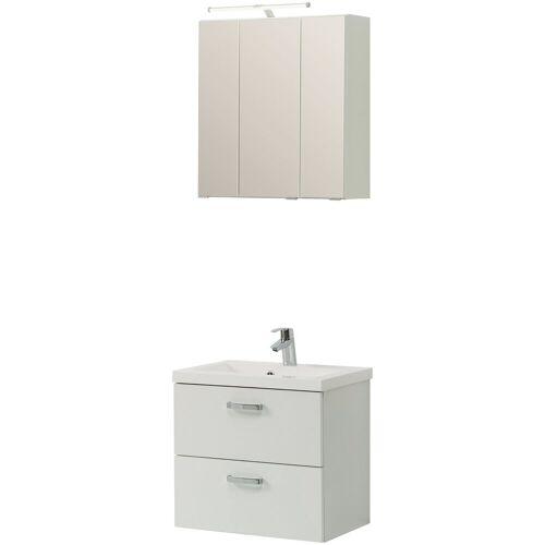 HELD MÖBEL Badmöbel-Set »Montreal«, (3-tlg), bestehend aus Spiegelschrank, Waschbeckenunterschrank und Waschbecken, weiß