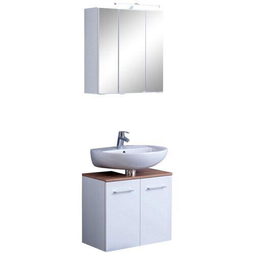 HELD MÖBEL Badmöbel-Set »Avignon«, (2-tlg), mit 3D-Spiegelschrank mit LED-Aufsatzleuchte, weiß