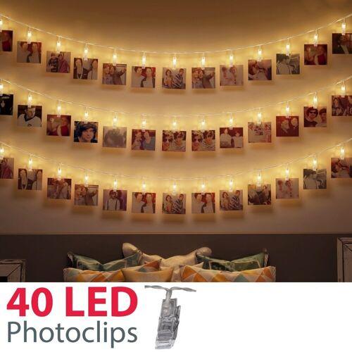 B.K.Licht LED-Lichterkette »Rana«, 40-flammig, 5m LED Fotolichterkette Stimmungsbeleuchtung mit 40 Photo-Clips