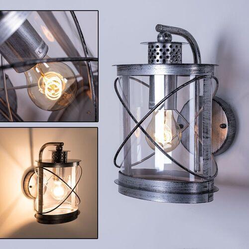 EGLO LED Laterne, Außen Wand Strahler Laterne Garten Balkon Leuchte Käfig Lampe silber patiniert 94866