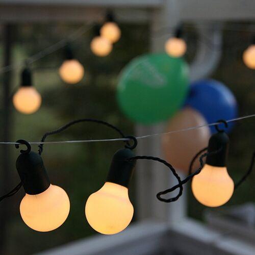 STAR TRADING LED-Lichterkette »LED Party Lichterkette f. Terrasse Balkon 20 weiße Kugeln L: 5,7m mit Haken«, 20-flammig